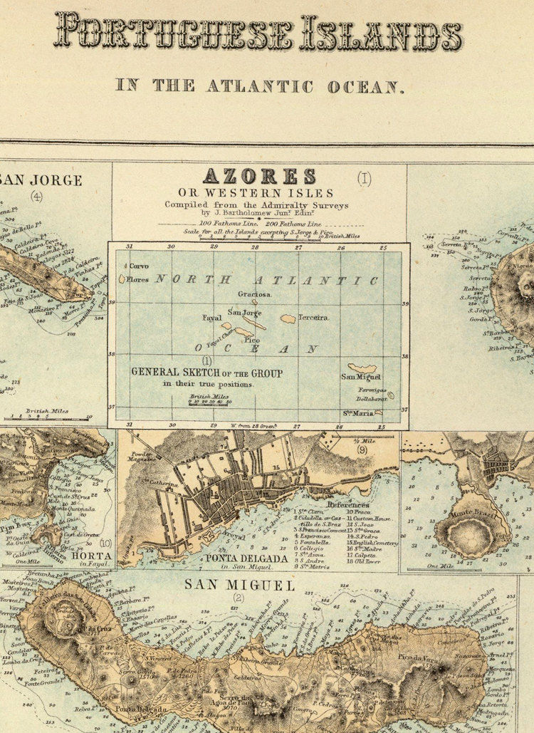 Old Map of Açores Azores and Madeira Islands 1876,  Portuguese islands - product images  of