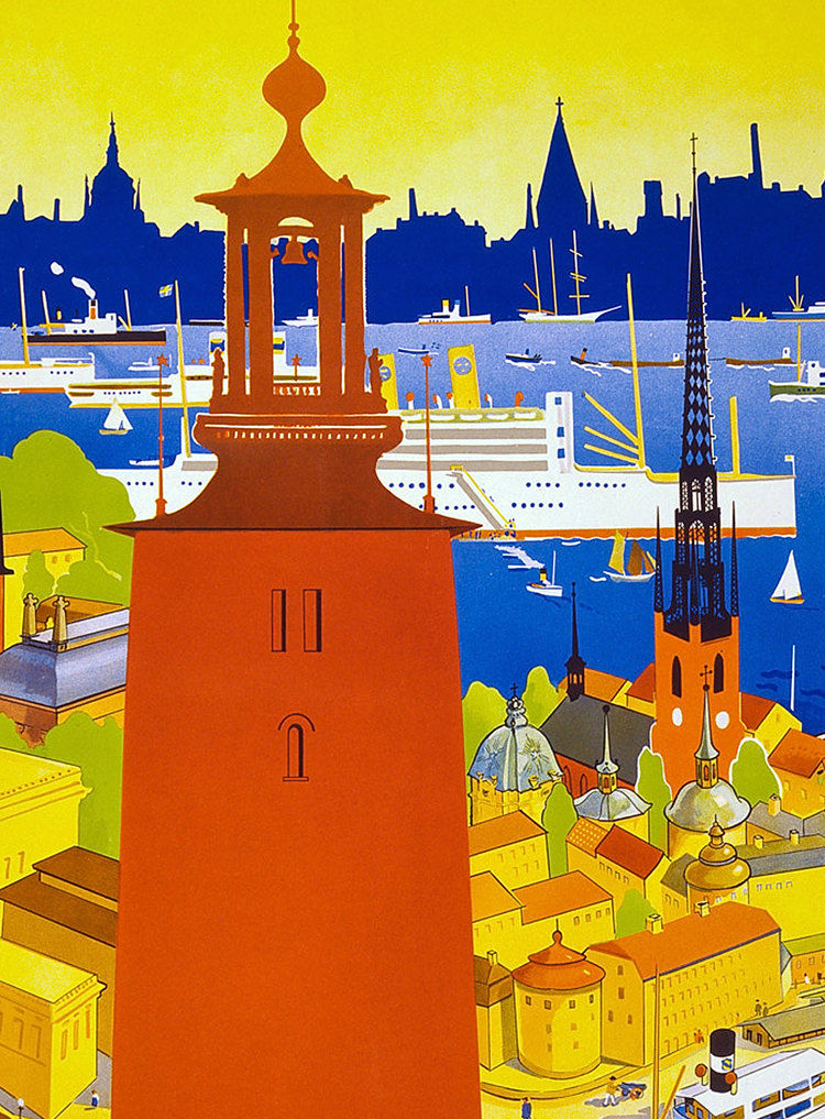 Vintage Poster of Stockholm 1930 Tourism poster travel - product images  of