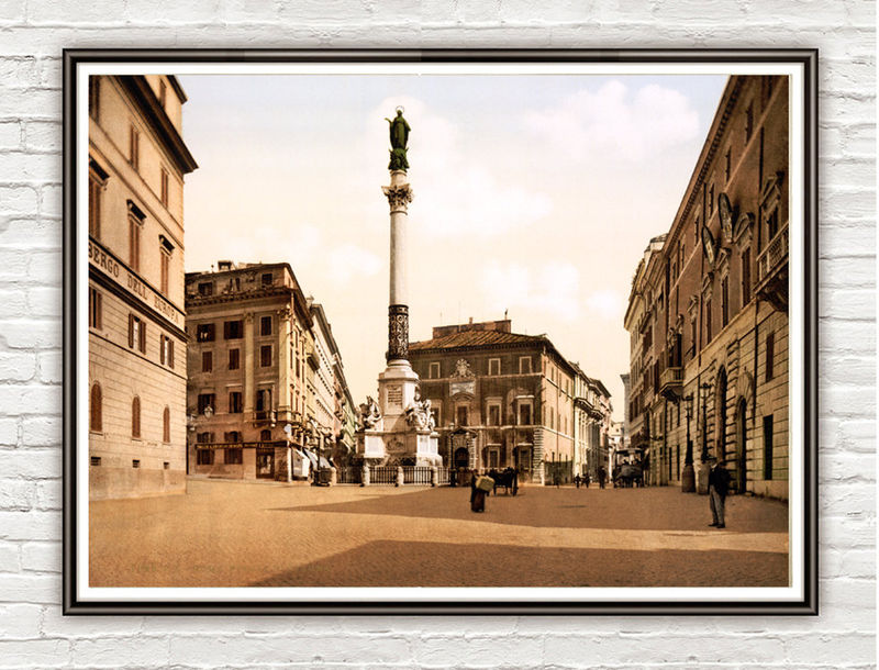 Vintage Photo of Rome Italy Italia  Piazza del Spagna 1895 - product images