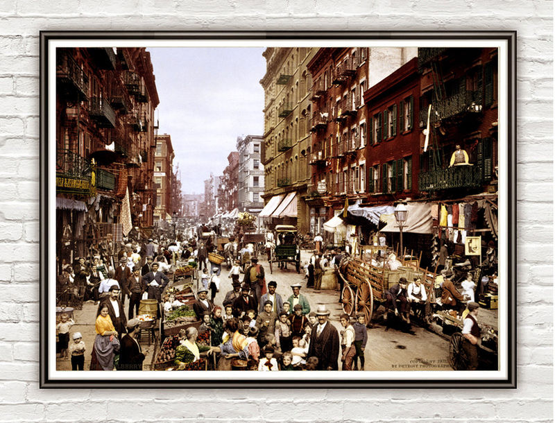 Vintage Photo of New York, Little Italy Street 1900 - product images