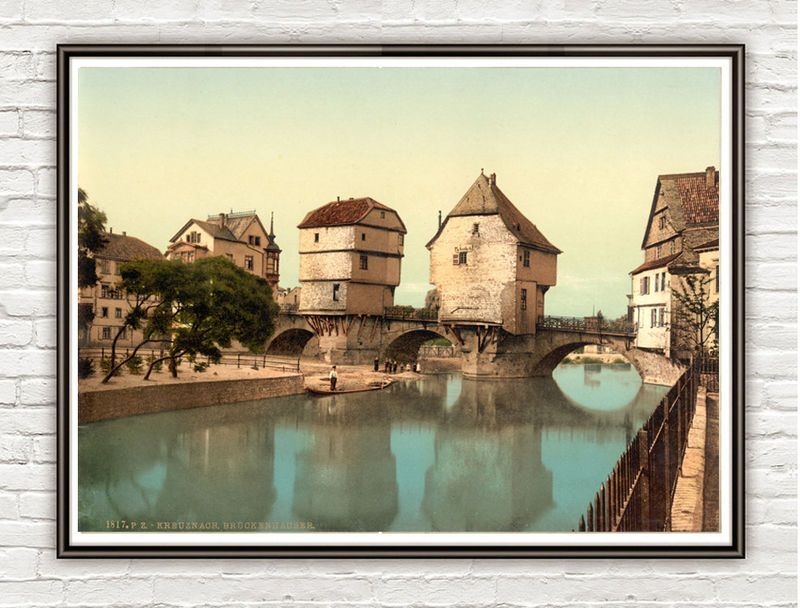 Vintage Photo of Bridge houses, Kreuznach, Rhineland, Germany 1895 - product images