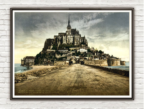 Vintage,Photo,of,Mont,Saint,Michel,,France,1895,Art,Reproduction,Open_Edition,vintage_poster,travel_poster,french_art,old_photo,Mont_Saint_Michel,Saint_Michel,Saint_Michel_photo,france_decor,medieval