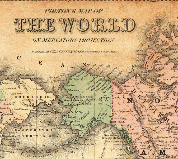 Vintage Map of The World 1876 Mercator projection - product image