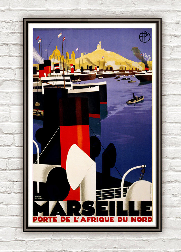 Vintage Poster of Marseille France  1937 Tourism poster travel - product image