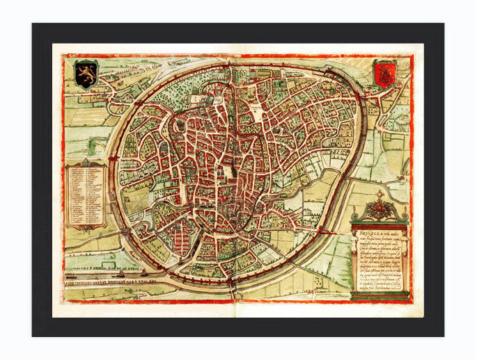 Old Map of Brussels, Belgium Illustration Gravure 1572 - product image