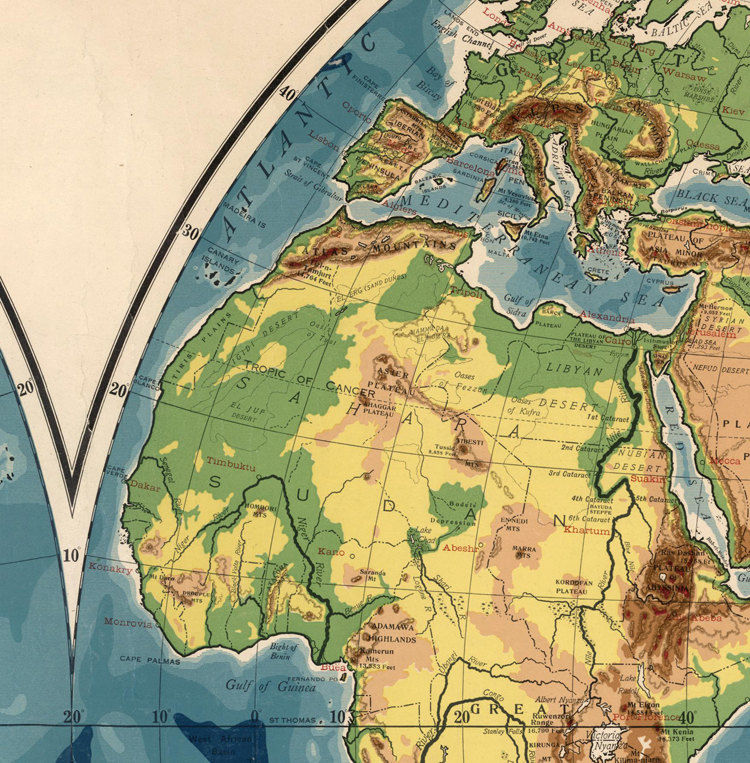 Vintage World Map 1917 Mercator projection - product image