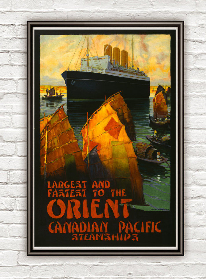 Vintage Poster of  Canadian Pacific 1924 Orient Steamships travel poster - product images  of