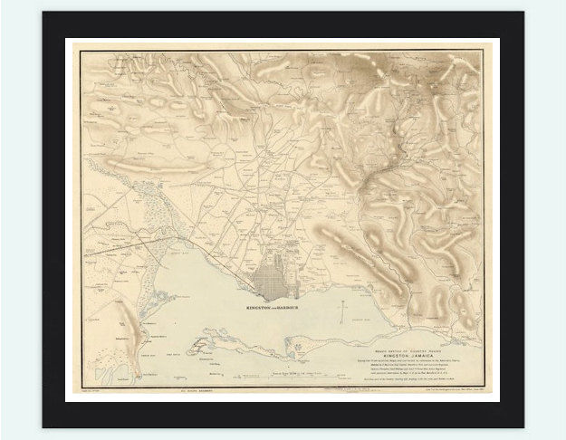 Vintage Map of Jamaica and Kisgston Harbour, 1891, Antique map of Jamaica - product images  of
