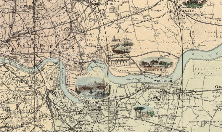 Old London map , Pictorial map of  London and environs 1890 - product images  of