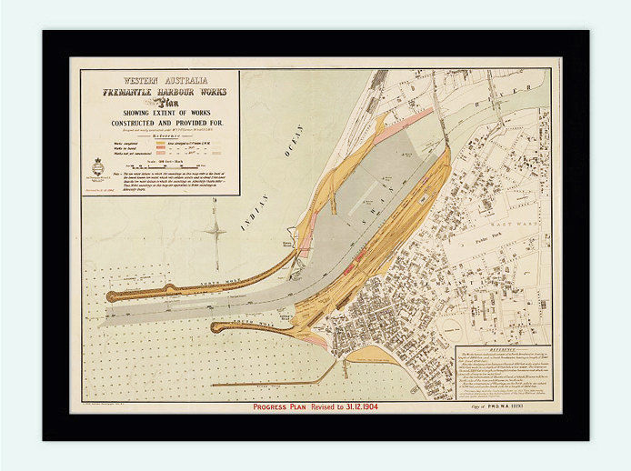 Vintage map of Fremantle Port Harbour and Perth, Australia 1904 - product image