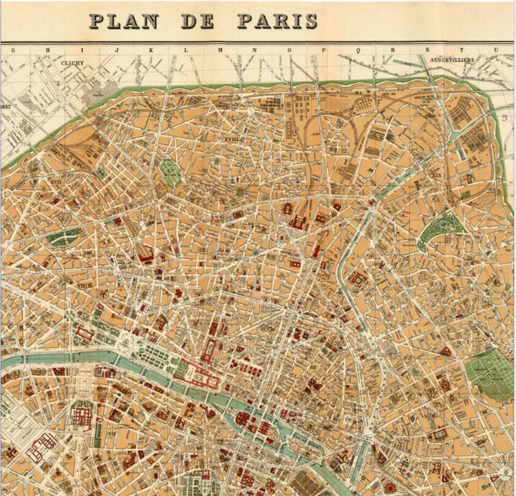 Old Map of Paris 1889 France Vintage Paris Plan - product images  of