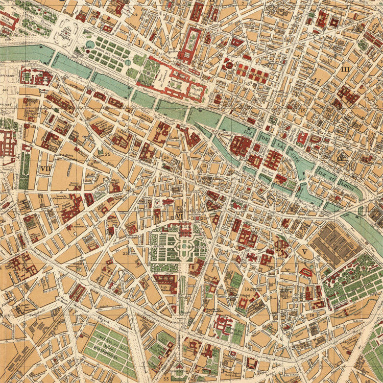 Old Map of Paris 1889 France Vintage Paris Plan - product image