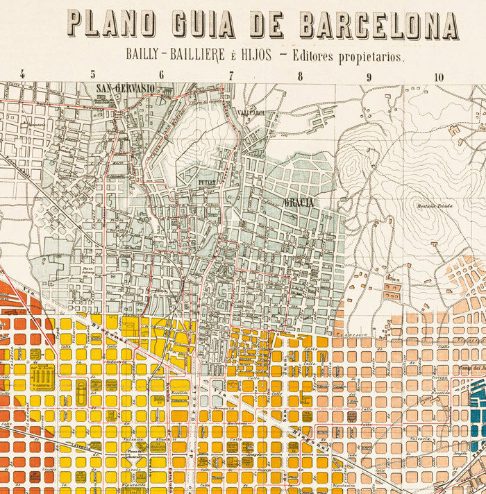 Old Map of Barcelona Spain Cataluna 1910 Vintage map Barcelona - product image