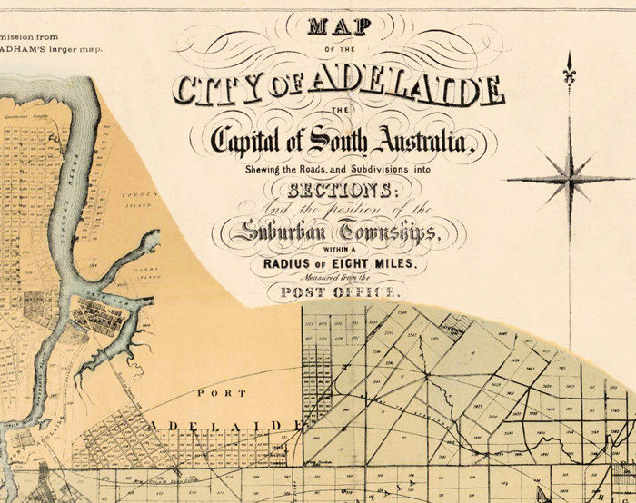 Vintage Map of Adelaide City , Australia Oceania 1877 - product images  of