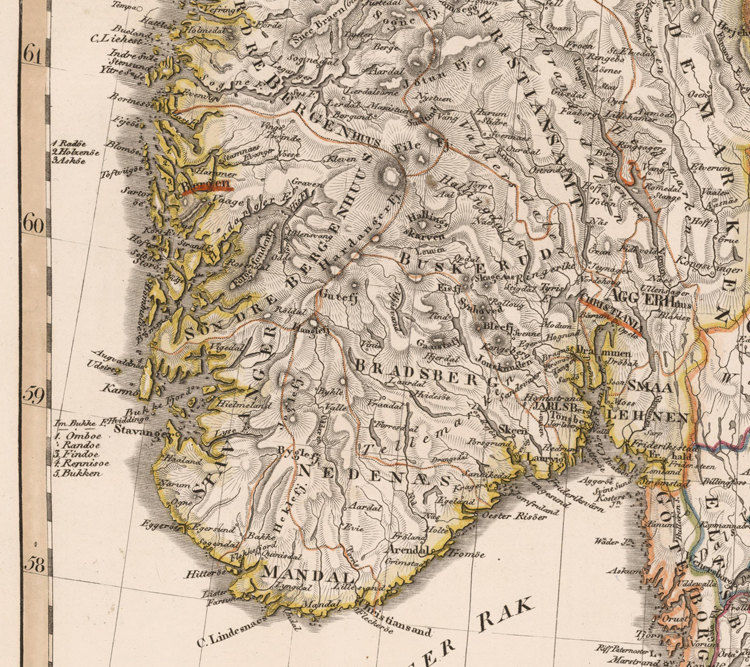 Old Vintage Map of Norway Sweden and Denmark Scandinavia 1824 - product images  of