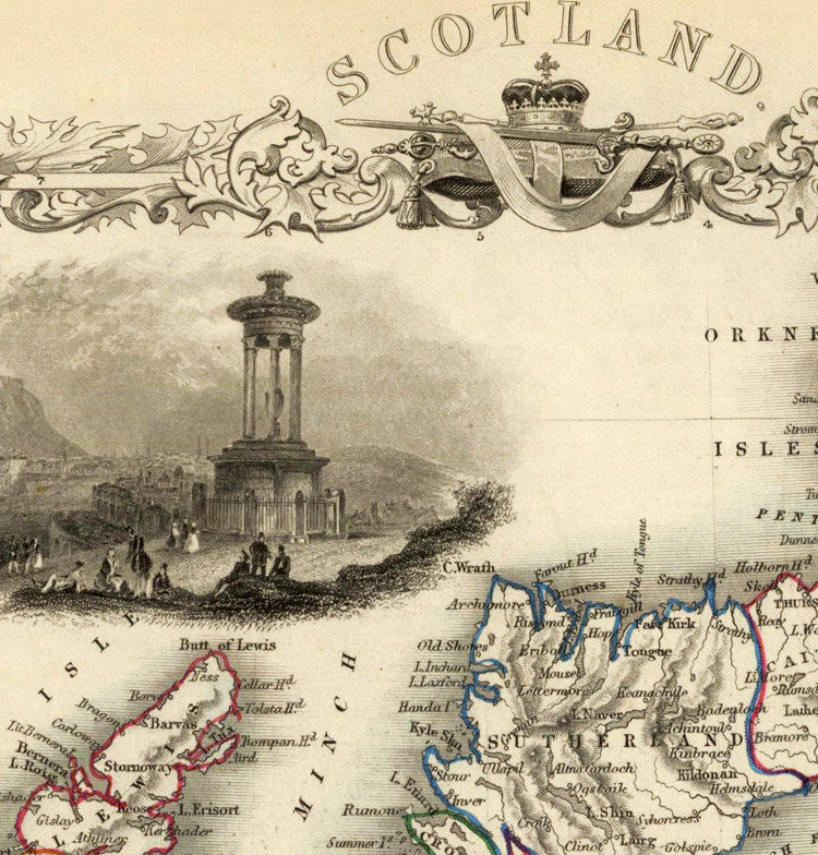 Old Map of Scotland 1851 Vintage Look  North britain - product image