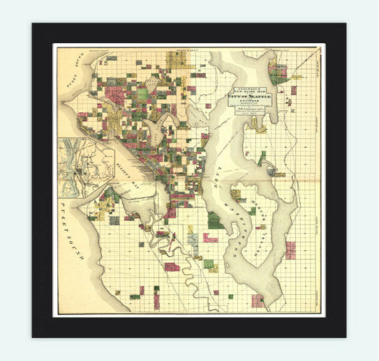 Old map of Seattle and environs, Washington. Vintage 1890 - product image