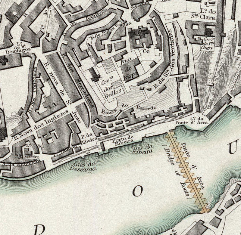 Old Map of Oporto Porto with gravures Portugal 1833  - product image