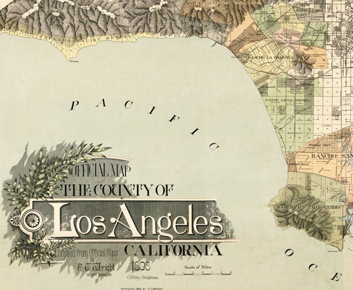 Vintage Old Map of Los Angeles 1898 United States - product image