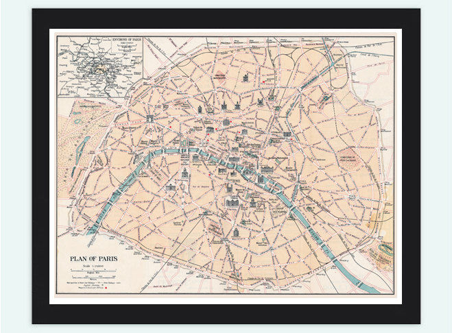 Vintage Old Map of Paris, France 1800 - product image