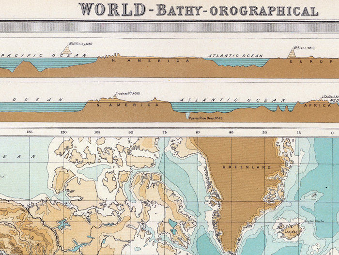 Vintage World Map bathy-orographical 1922 - product images  of