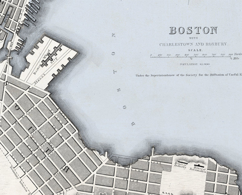 Old Map of Boston Charlestown, Roxbury  Massachusetts Vintage 1842 - product images  of