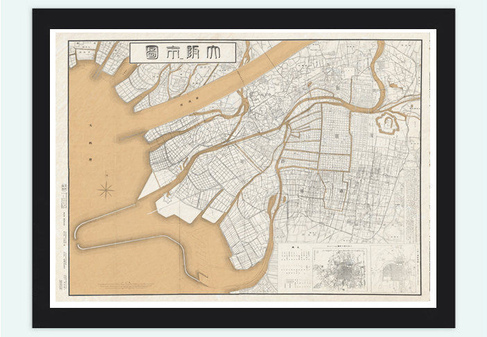 Vintage Map of Osaka City , Japan 1905 - product image
