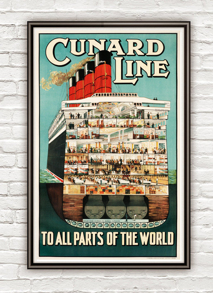 Vintage Poster Cunard Line, To All Parts of the World  1920 Tourism poster travel - product image