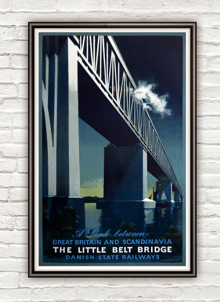 Vintage Poster of Bridge Scandinavia Britain 1920 Tourism poster travel - product image