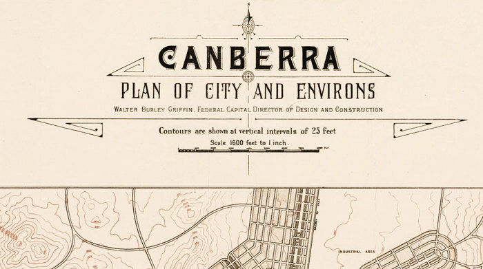 Vintage Map of Canberra City , Australia Oceania 1918 - product image