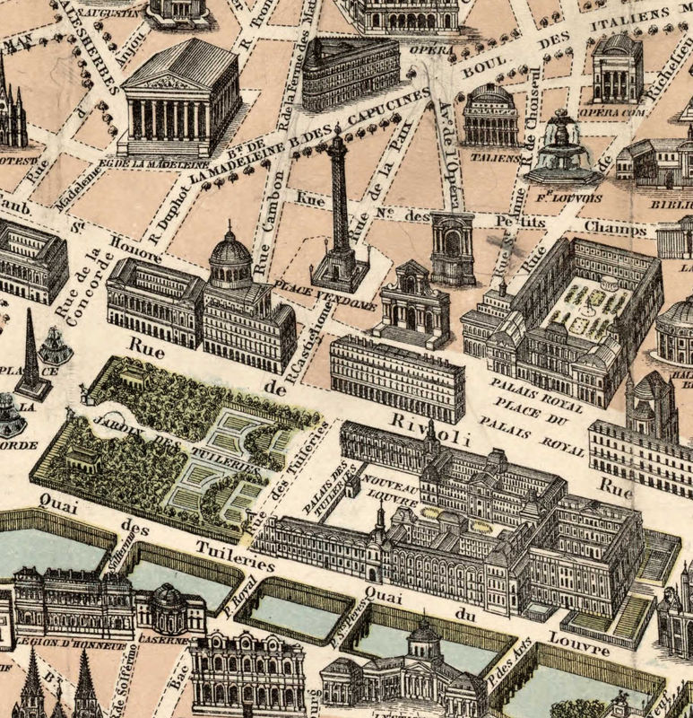 Old Map of Paris Monumentale, France 1878 - product image