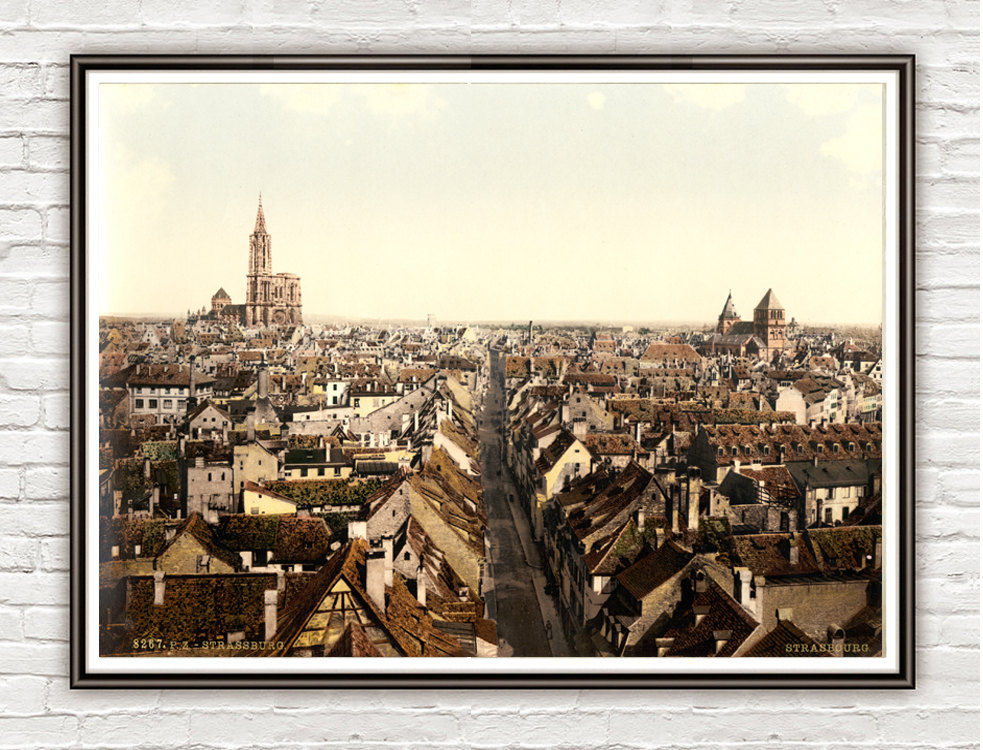 Vintage Photo of Panoramic Strasbourg, Alsace 1895 - product image