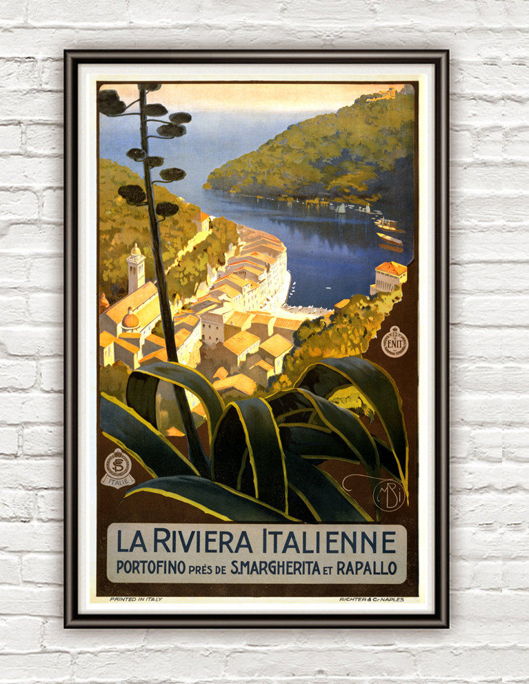 Vintage Poster of Riviera Italienne Italy Italia  1920 Tourism poster travel - product image
