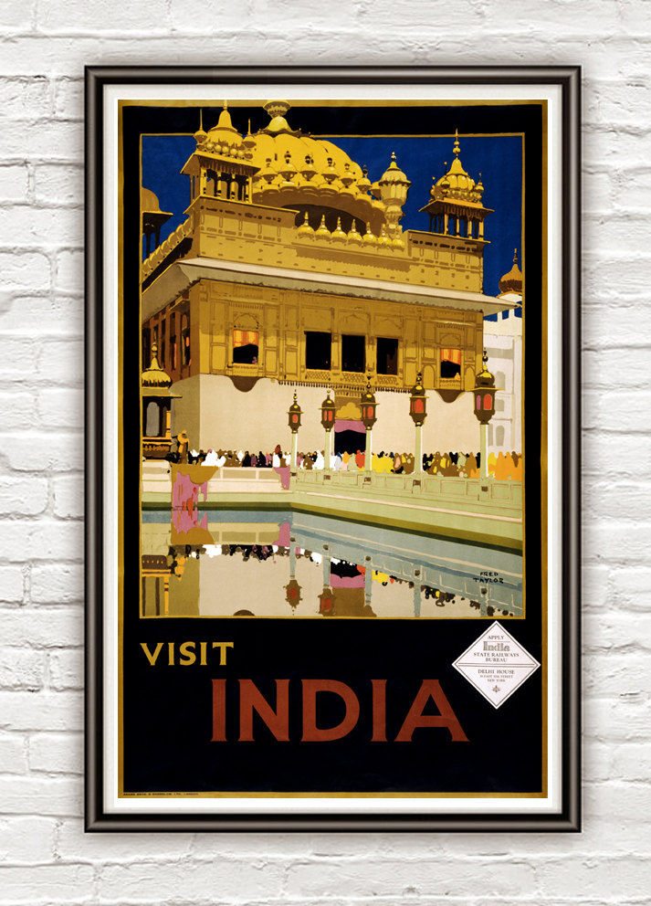 Vintage Poster of India  1935 Tourism poster travel Visit India - product image