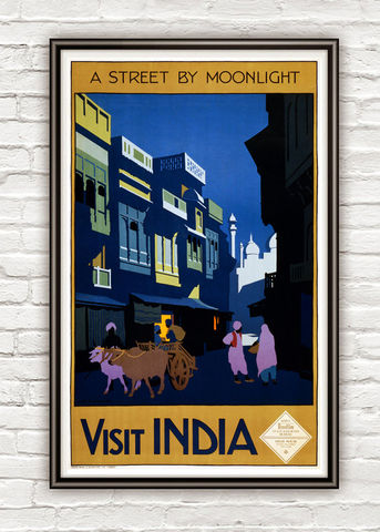 Vintage,Poster,of,India,Street,Moonlight,1920,Tourism,poster,travel,Art,Reproduction,Open_Edition,vintage_poster,what_about_india,old_poster,india_poster,india_vintage,india_retro,india_travel,india_decor,india_tourism,darjeeling,street,moonlight