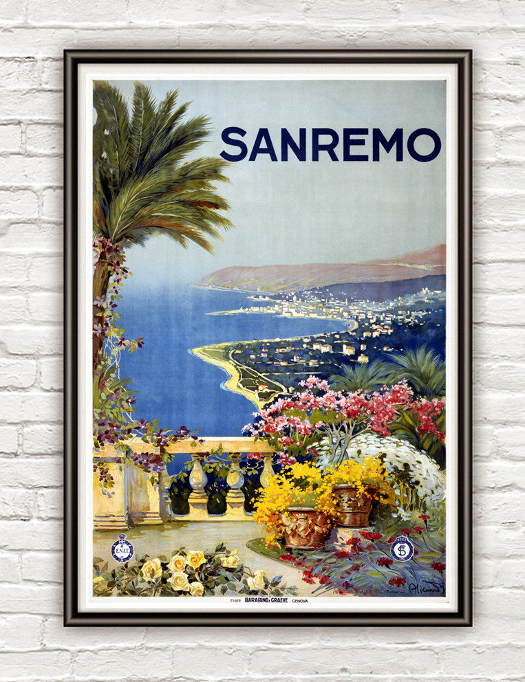 Vintage Poster of SanRemo San Remo Italy Italia  1920 Tourism poster travel - product image