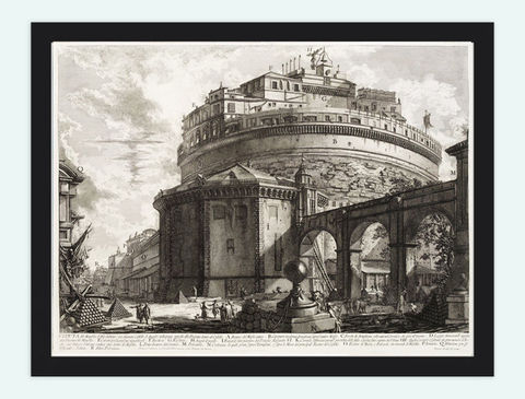 Giovanni,Battista,Rome,Castle,Mausoleo,Elio,Adriano,Engraving,Art,Reproduction,Open_Edition,Piranesi,Italia,gravure,architecture_drawing,engraving,art,Roma,Piranese,Giovanni_Battista,antique,antique_art