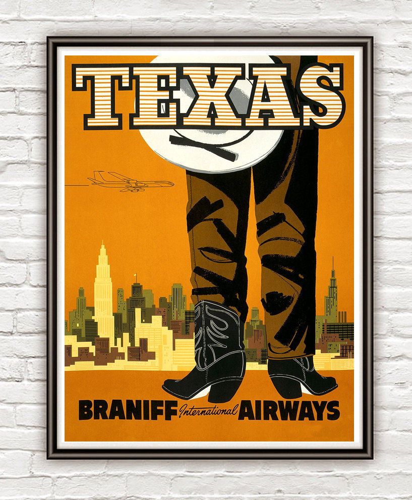 Vintage Poster of Texas  Tourism poster travel - product images  of