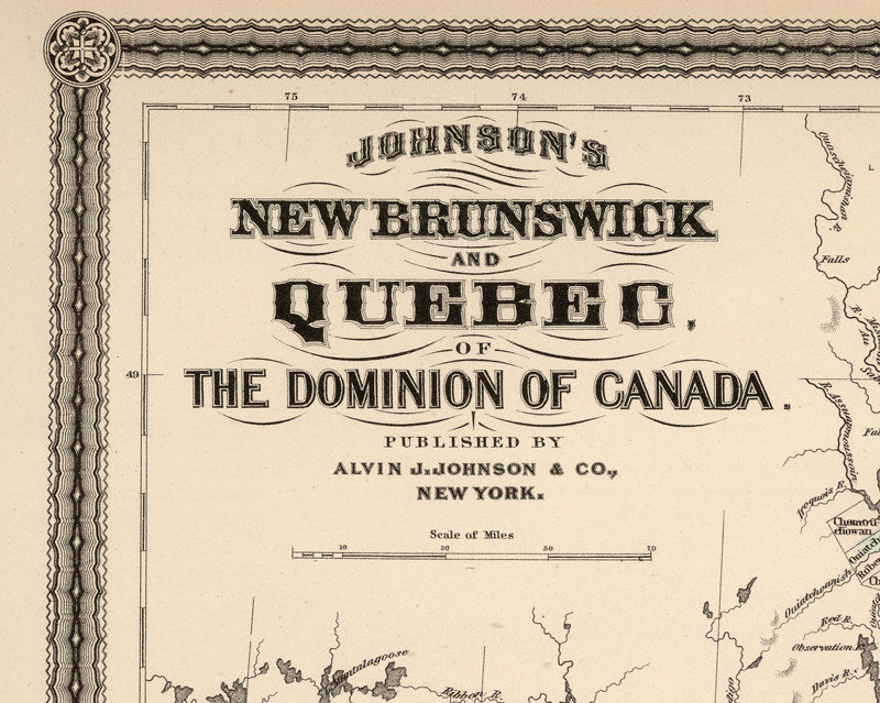 Old Map of Quebec New Brunswick Canada 1886 vintage - product image