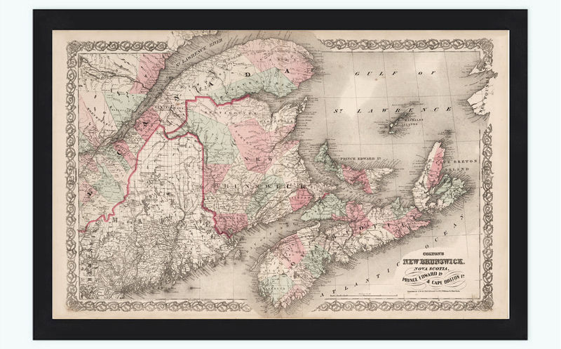 Old Map of New Brunswick Nova Scotia 1855 vintage - product image