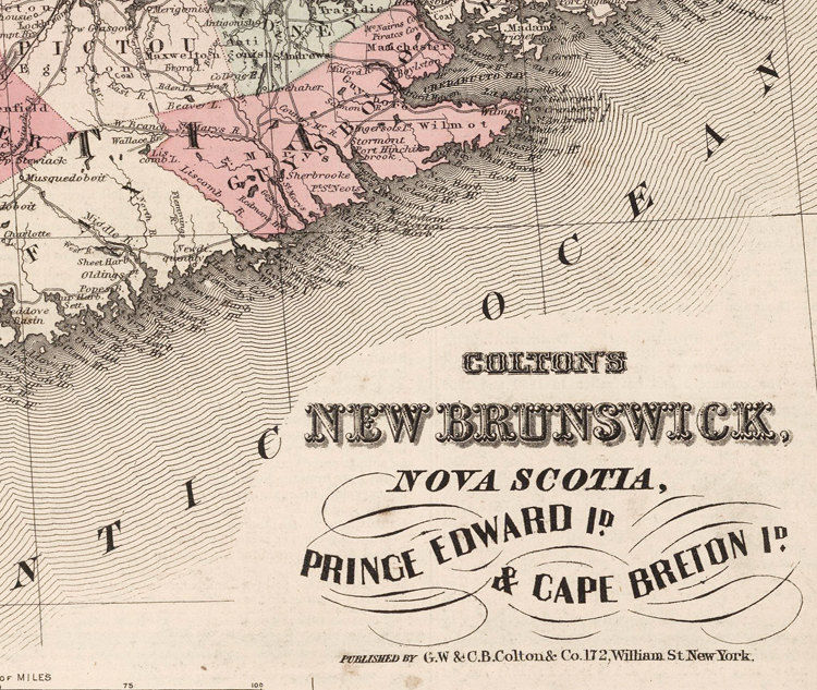 Old Map of New Brunswick Nova Scotia 1855 Vintage Map - product images  of
