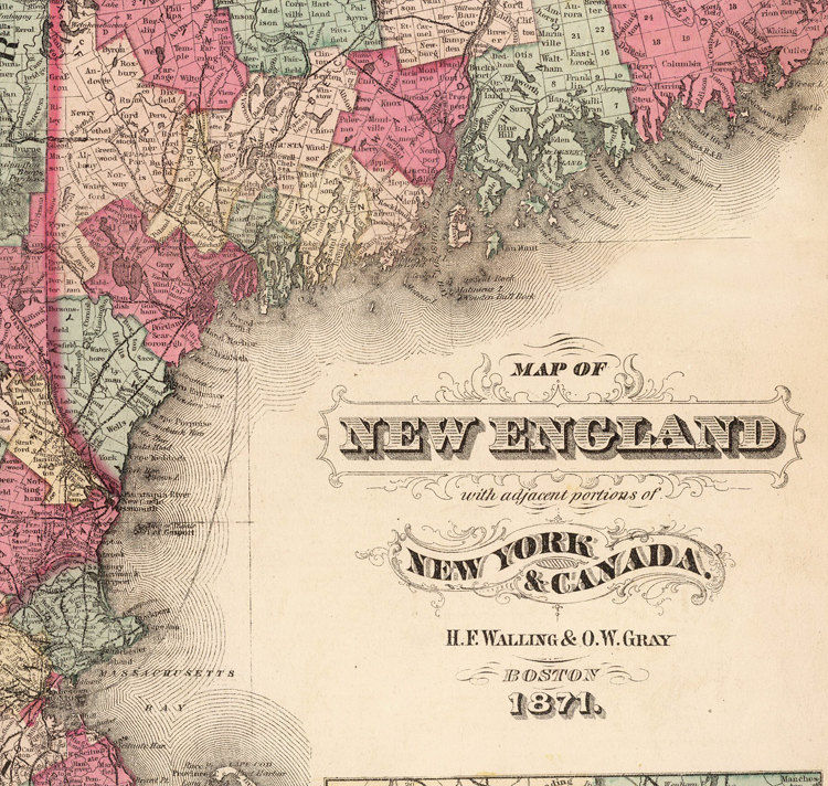 Old Map of New England 1871 vintage - product image