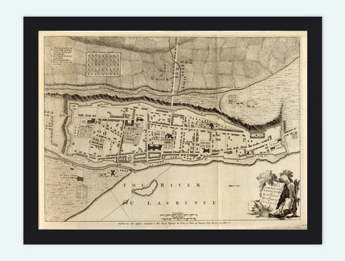 Old Map of Montreal or Ville Marie Canada 1758 Vintage Map - product images  of