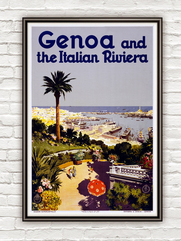 Vintage Poster of Genoa Genova and the Italian Riviera 1931 - product image