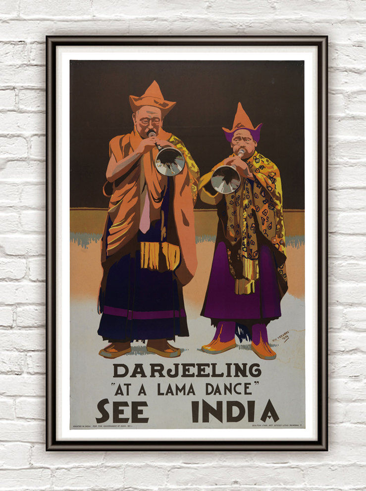 Vintage Poster of India Darjeeling 1940 Tourism poster travel - product image