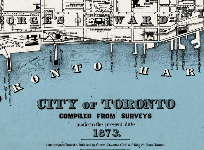 Old Map of Toronto, Ontario Canada 1897 Vintage map Toronto - product image