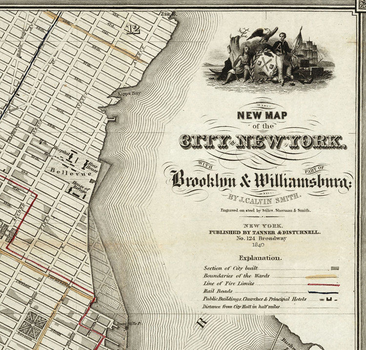 Old Map of New York and Brooklyn 1840 Manhattan Vintage Map - product images  of