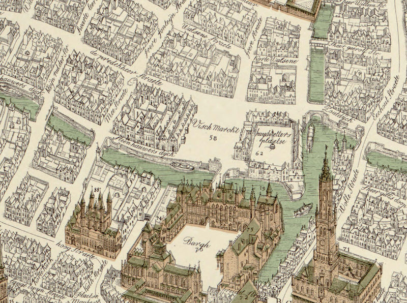 Old Map of Bruges, belgium, Brugae Flandorum 1562 - product image