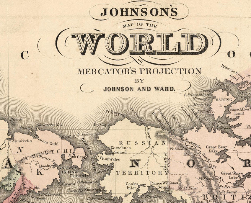 Old World Map Atlas Vintage World Map 1864 Mercator projection - product images  of
