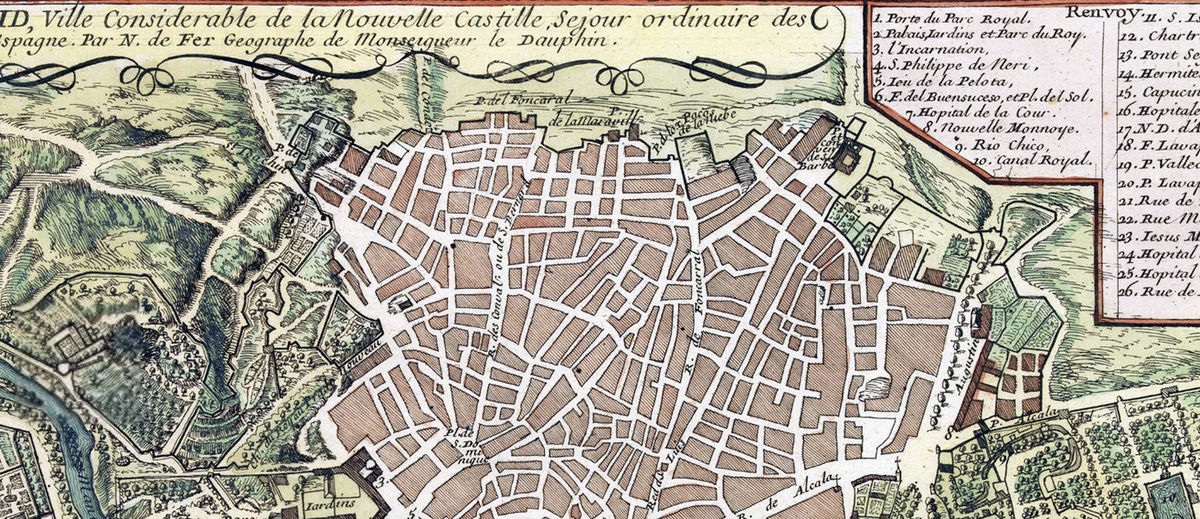 Old Map Of Madrid Spain 1717 Vintage Map Of Madrid Vintage Maps And Prints